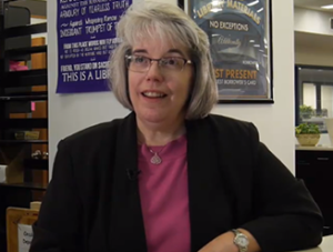 Kim Farrington, Head of the Library's Access Services Department in the Meet the Staff video