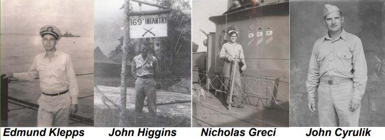 Photos of WWII Veterans Edmund Klepps, John Higgins, Nicholas Greci, John Cyrulik